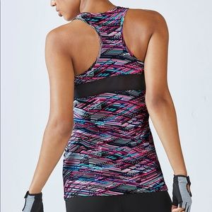 5/$25 Fabletics Mary Patterned Blue Pink Tank Top